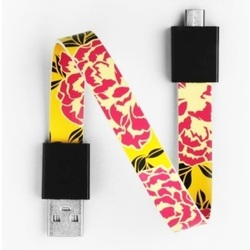 Mohzy USB to Micro USB Loop Cable in Pink Peony Pattern
