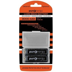 PurEnergy Rechargeable Lithium Ion 18650 Batteries X 2 at 3000mAh